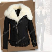Popular Women's Korean Style Warm Lush Fur Winter Coat Outerwear Jacket Parka Black