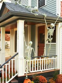 skeletons hanging out on the front porch!!:)