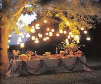 Highlight a dessert table or gift table at an outdoor wedding by suspending Mason jar lanterns from tree branches or a gazebo's beams. Source
