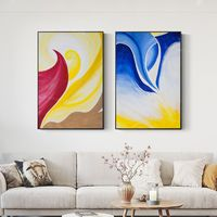 Set of 2 wall art Ymipainting Navy blue yellow 2 piece wall art sea wave framed painting abstract seascape paintings on canvas original art $176.50