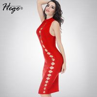 Night Club Sexy Hollow Out Slimming Sheath High Waisted Summer Red Formal Wear Dress - Bonny YZOZO Boutique Store