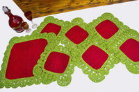 Set crochet table doily, as a Christmas table decoration. Burlap square knitted overlay. Red and green table top. Granny square. $55.00