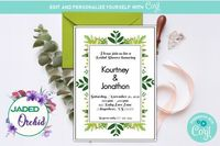 Garden Bridal Shower Invitation, Greenery Bridal Shower Invitation, Foliage Bridal Shower Invitation - INSTANT ACCESS - Edit NOW using Corjl $8.99