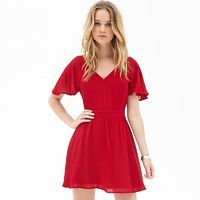 Sweet Open Back Frilled Sleeves Slimming Low Cut Chiffon Summer Short Sleeves Dress - Bonny YZOZO Boutique Store
