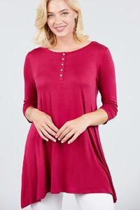 3/4 Sleeve Button Placket Rayon Spandex Top $17.51