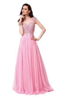 Long Pink Beaded CD-1137 Lace Prom Dresses With Cap Sleeves