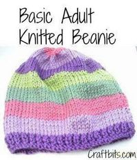"This cute and easy knitting pattern is the perfect pattern to knit for charity. The Basic Adults Knitted Beanie is an adorable <a href=""http://www.allfreeknitti"