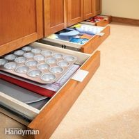 Baseboard drawers to maximize space