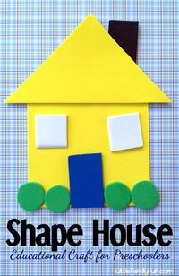 Fun and educational craft for preschoolers! Create a house out of shapes!