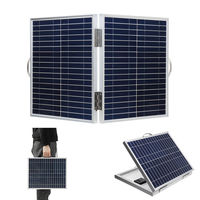 60W 18V DC IP65 Waterproof Foldable Portable Monocrystalline Silicon Solar Panel With USB Output+Battery Clip Cable