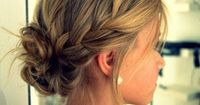 Side braid into low bun - makes me want long hair so I can do this!!