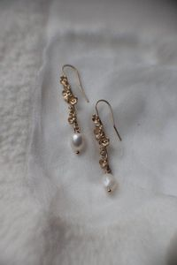 Bridal Matching Earrings Wedding Jewelry Earrings Matching Earrings Floral Drop Chandelier Earrings Jewelry Set Wedding Hair Flower $34.95