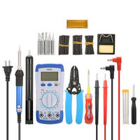 LIUMY 15 in 1 Adjustable 60W Solder Iron Kit w/5pcs Soldering Iron Tips Digital Multimeter Tester