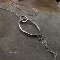 Oxidized Sterling Silver Circle Pendant Necklace £59.00