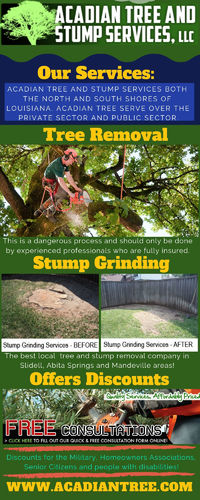 Acadian Tree Removal and Stump Services, LLC provides tree services including tree removal, tree trimming, Stump Grinding. A highly technical task, tree removal requires trained and qualified professionals, and we are well versed in it. Call now to learn ...