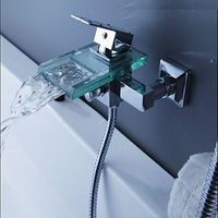 Waterfall Wall Mount Glass Tap For Bathroom Brass Body Chrome Finish Single Handle Shower Bathtub Faucets