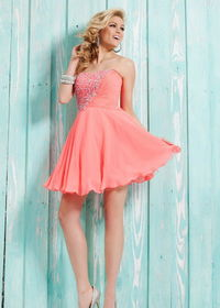 Coral Short Beaded Knee Length Cocktail Dresses Cheap