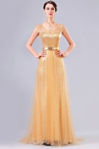 V Neck Cap Sleeve Long Gold Sequin Tulle Sparkly Evening Prom Dress