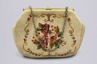 Elegant Needlework Tapestry Purse With Metal Clasp, Beige Pink Floral Embroidered Clutch Bag, Retro 60s Evening Handbag, Womens Shoulder Bag