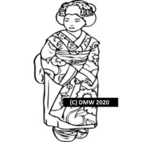 Printable Child Coloring Page, Coloring 26 Oriental Kimono , Instant Download, black and white illustration. Coloring Sheet, Home Coloring