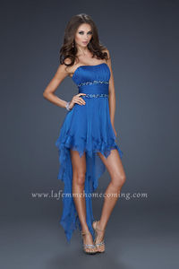 Sapphire Blue Hight Low Sexy La Femme 15087 Strapless Beaded Homecoming Dresses