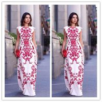 Bohemian Women O-Neck Chiffon Dress Floral Print Sleeveless Long Dress Elegant Hollow Out Beach Maxi Boho Dress $34.00