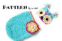 Chunky Flower Owl Hat and Cocoon Set for Babies Crochet PDF Pattern