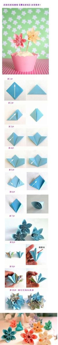 DIY on paper flowers.postis in Chinese but it is all step by step as you can see. These are so cool. Fun project for Spring!