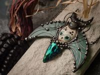 Pendant- The Guardian of cosmic gardens. Necklace with clay mask, natural labrodorite, obsidian arrow head. Shaman ( shamanic ) jewelry $58.00