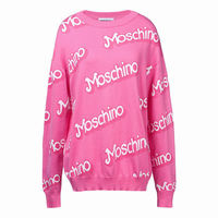 Moschino Barbie Womens Long Sleeves Sweater Pink