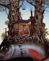 Born in Poland in 1952, Jacek Yerka studied fine art and graphics prior to becoming a full-time artist in 1980. In 1995 he was awarded the prestigious World Fan