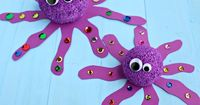 Make these cute styrofoam ball octopus crafts with your kids! It's perfect for an ocean themed art project.