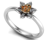Two Tone Rose & White Flower Ring Promise Ring Unique Engagement Ring with Side Diamonds Floral ring Birthday Gift For Her Gift $682.00