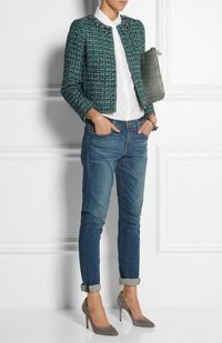 Slim jeans, loose top, nonfitted jacket