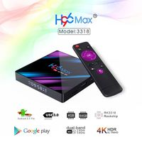 EU H96 MAX RK3318 4GB RAM 64GB ROM 5G WIFI bluetooth 4.0 Android 9.0 4K VP9 H.265 TV Box + Viboton I8 Plus 2.4G German Wireless Colorful Marquee Backlit Mini Keyboard Touchpad Air Mouse Airmouse