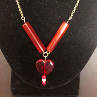 Red Glass Heart Necklace, women's necklace, women's jewelry, women's gift, women's Valentine's Day gift $21.00