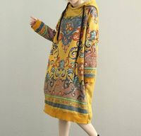 Women Hooded Maxi dress, long sleeved dress, Loose bottoming dress in yellow, red, Loose pullover dress