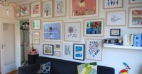 a wonderful children's art wall gallery in the playroom.... i love it <3 one day, my girls' will have a playroom :) and it will be filled with their art work... ooohhh... and it will double as their library.. and floor to ceiling shelves wi...