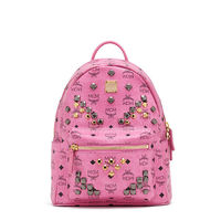 MCM Small Stark M Odeon Studded Backpack In Pink