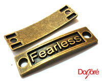 Pack of 2 Bronze FEARLESS Charms. Curved Connector Pendants. 35mm x 9mm £4.49