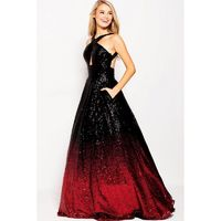Jovani - 60270 Gradient Sequined Halter Cutout Ballgown - Designer Party Dress & Formal Gown