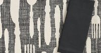 Feast Placemat and Cotton Black Napkin in Placemats | Crate and Barrel