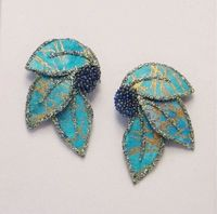 Handmade Green and Gold Batik Fabric Magnetic Non Pierced or Pierced Earrings $50.00 Designed by LauraWilson.com