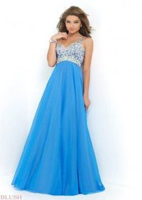 Sequined Embellished Bodice Poly Aqua Long Evening Dresses