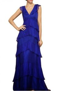 $218.00 BCBG V NECK TIERED-LACE EVENING GOWN BLUE