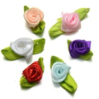 Pack of 40 Assorted Colours Ribbon Flowers. 13mm Fabric Rose Appliques for Xmas Crafts £3.39