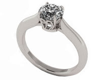 Filigree Solitaire Engagement Ring Silver Unique Engagement Ring 1 carat Simulated Diamond $173.00
