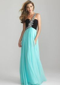 Black Water Rhinestone Beaded Strap One Shoulder Prom Dress
