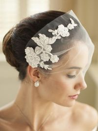 Handmade Ivory Tulle Bandeau Wedding Veil with Beaded Lace Applique $120.00