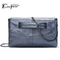 ESUFEIR Brand Genuine Leather Chains Shoulder Bag Envelope Clutch Casual Cross body Bag R462.00